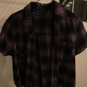Thrifted forever 21 plaid crop button up tee